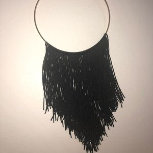 New York & Co Gold/ Black fringe necklace